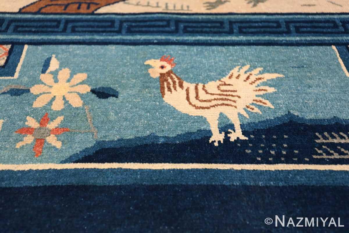 Animal Motif Antique Chinese Rug 49808 Rooster Singing Nazmiyal