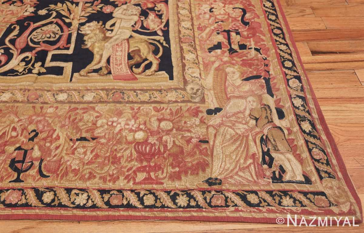 Antique D'Art De Rambouillet Edition French Tapestry 49901 Left Lower Corner Nazmiyal