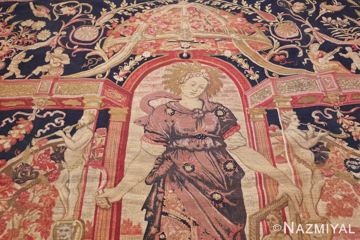 Antique D'Art De Rambouillet Edition French Tapestry 49901 Red Arch Nazmiyal
