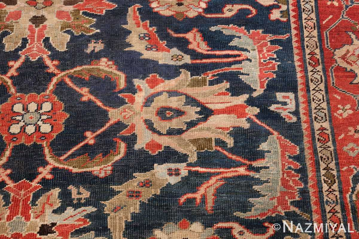 Antique Navy Background Persian Sultanabad Rug 49759 Blue Leaves Nazmiyal