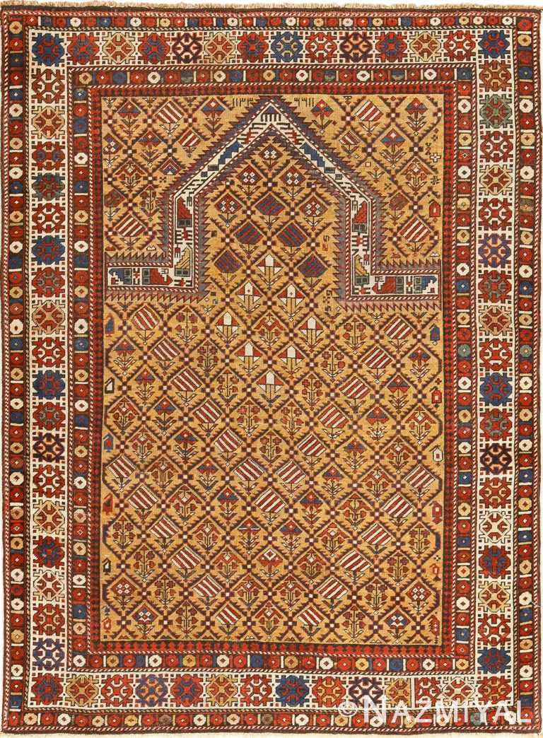 Antique Caucasian Dagestan Gold Prayer Design Rug 49485