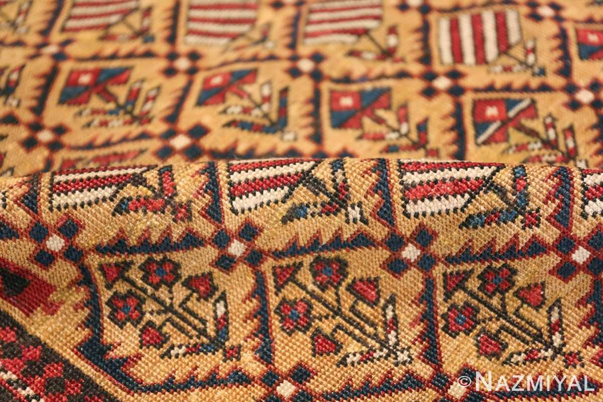 Antique Prayer Design Caucasian Dagestan Rug 49485 Floral Pile Nazmiyal