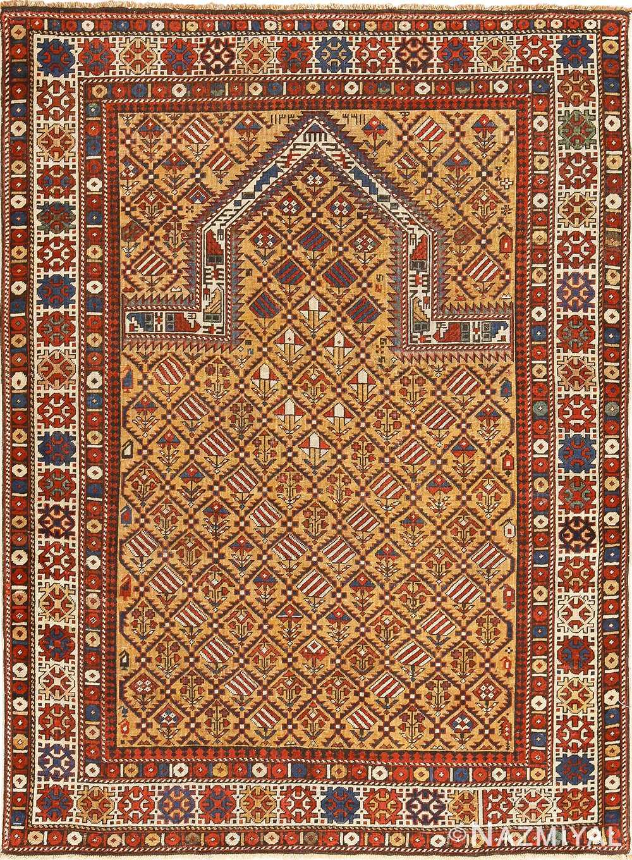 Antique Caucasian Dagestan Gold Prayer Design Rug 49485