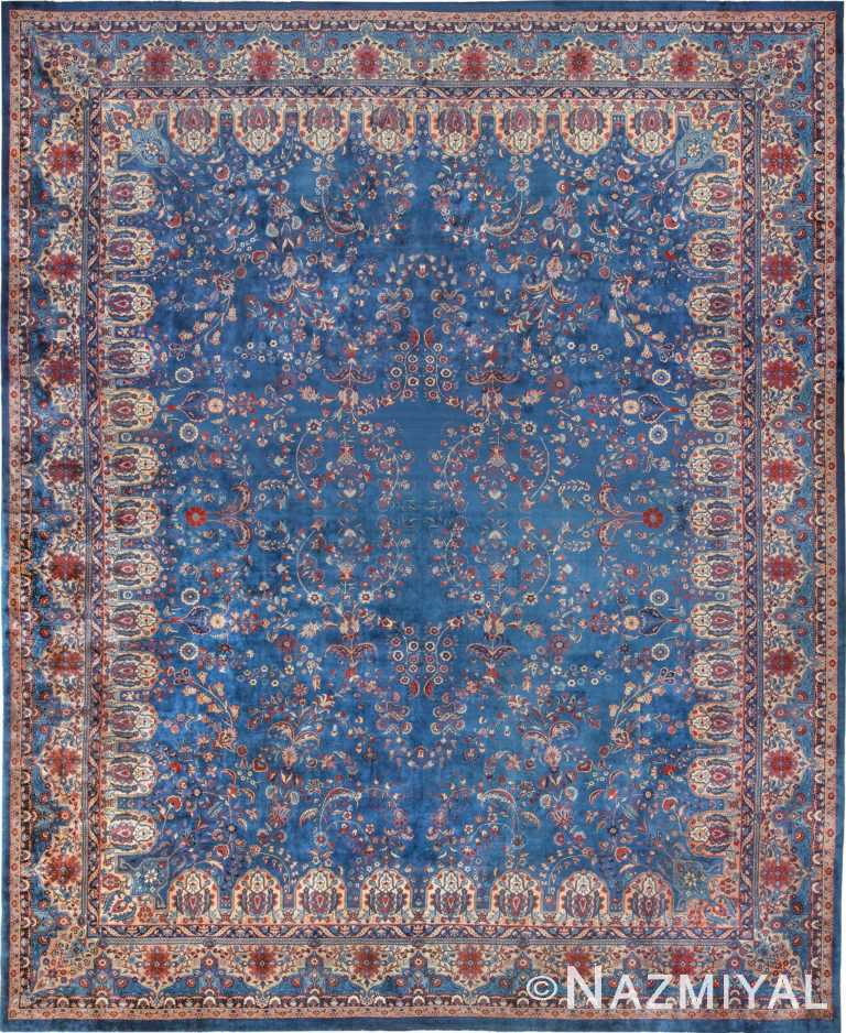 Blue Oversize Floral Antique Indian Rug 49847 Nazmiyal