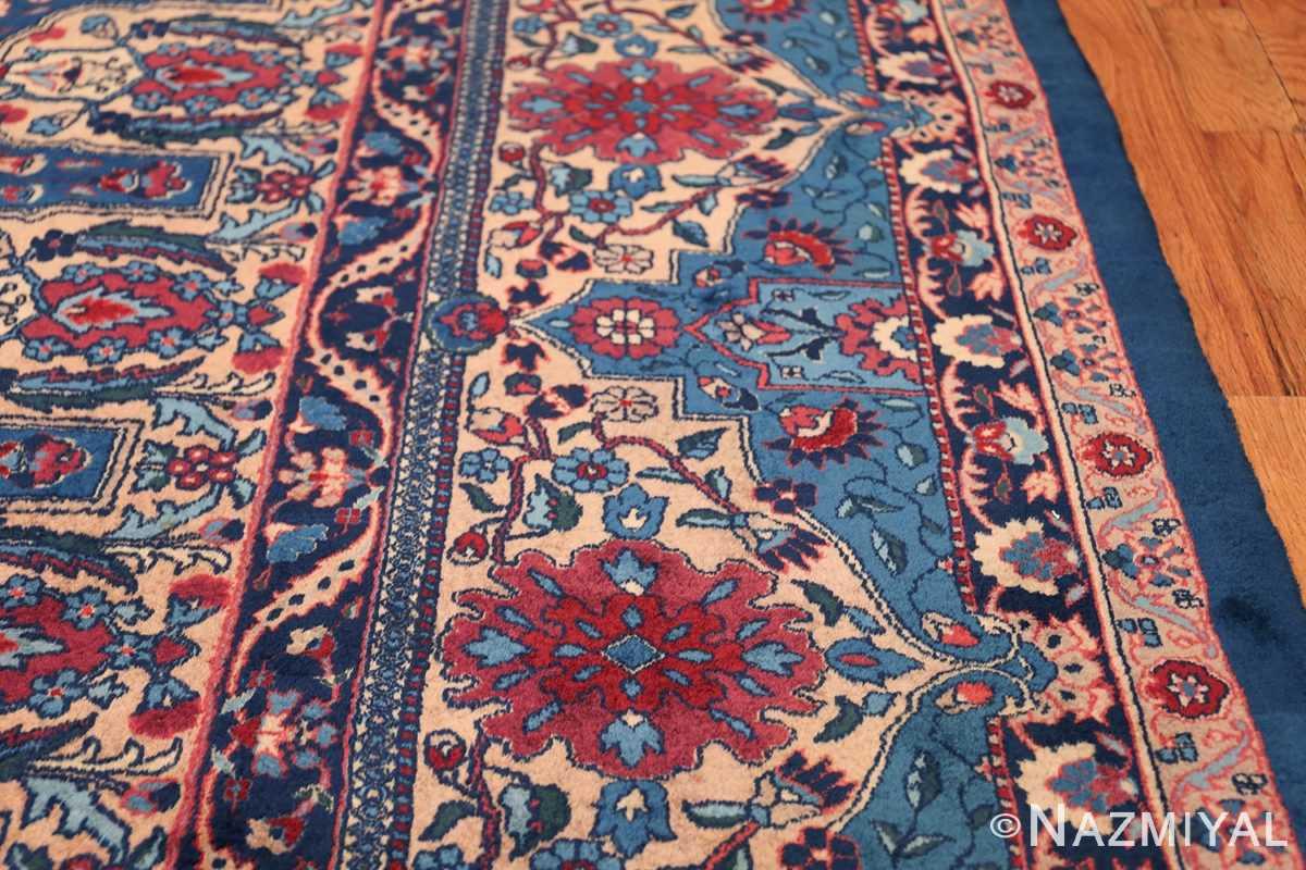 Blue Oversize Floral Antique Indian Rug 49847 Border Design Nazmiyal