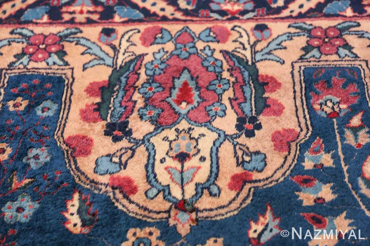 Blue Oversize Floral Antique Indian Rug 49847 Inner Border Nazmiyal