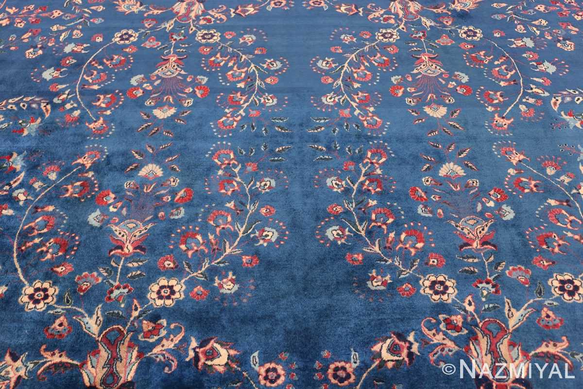 Blue Oversize Floral Antique Indian Rug 49847 Middle Scrolls Nazmiyal