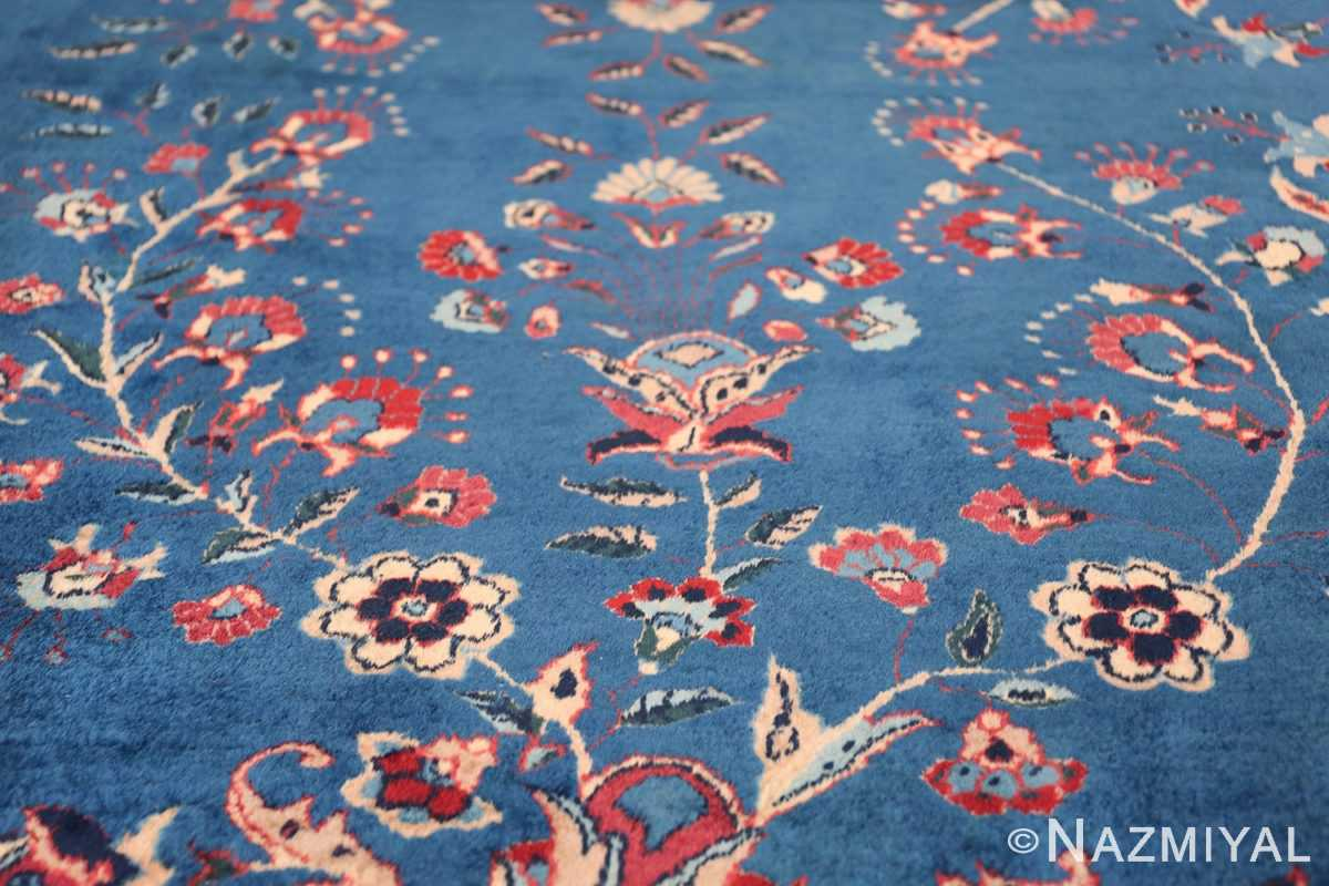 Blue Oversize Floral Antique Indian Rug 49847 One Flower Nazmiyal