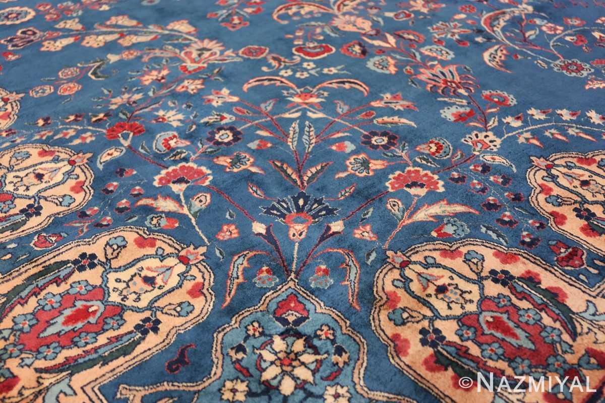 Blue Oversize Floral Antique Indian Rug 49847 Pattern on Side Nazmiyal