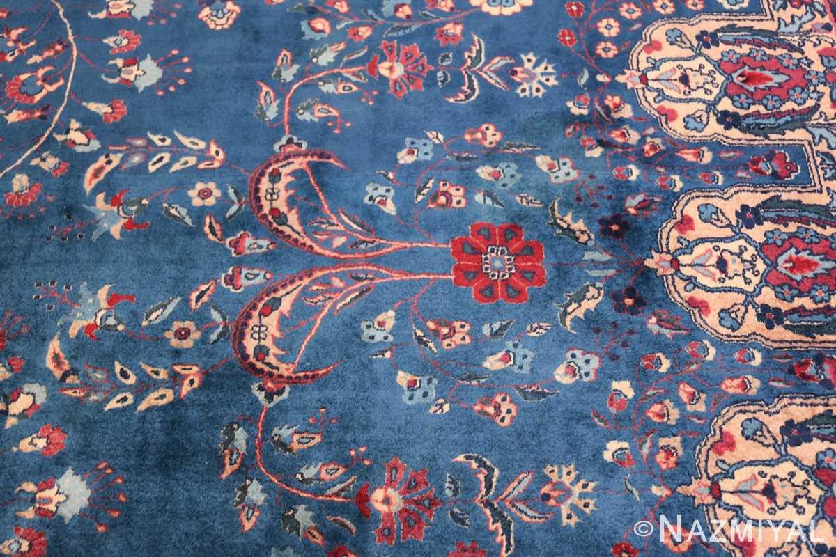 Blue Oversize Floral Antique Indian Rug 49847 Red Flower Nazmiyal