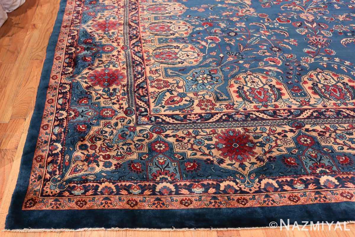 Blue Oversize Floral Antique Indian Rug 49847 Side Corner Nazmiyal
