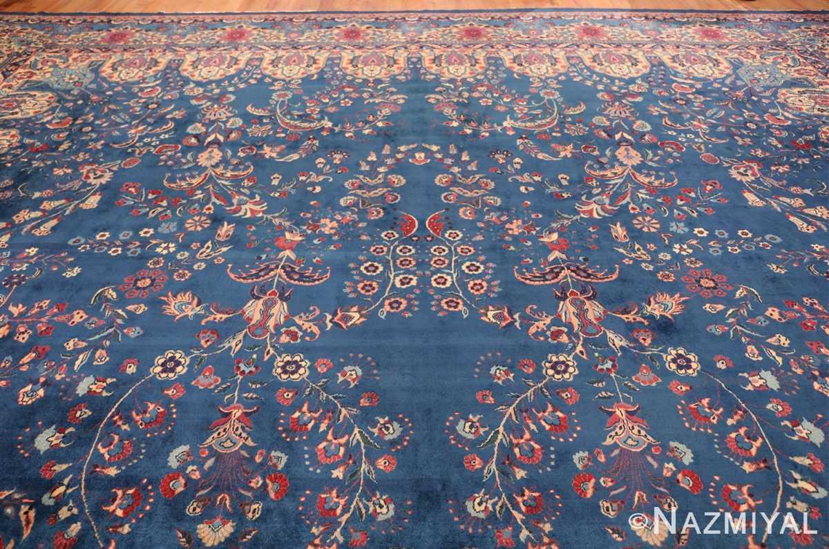 Blue Oversize Floral Antique Indian Rug 49847 Top Design Nazmiyal