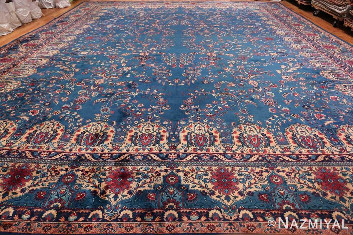 Blue Oversize Floral Antique Indian Rug 49847 Whole Design Nazmiyal