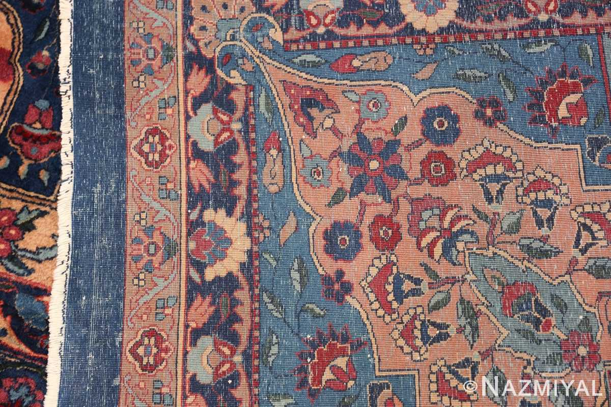 Blue Oversize Floral Antique Indian Rug 49847 Woven Knots Nazmiyal