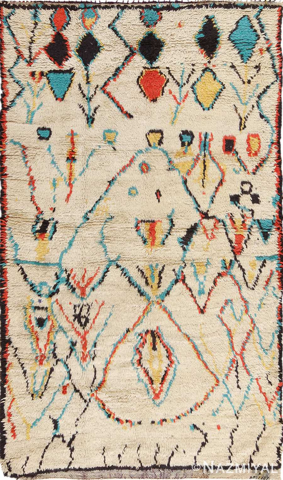 Colorful Small Size Vintage Moroccan Rug 49887 Nazmiyal