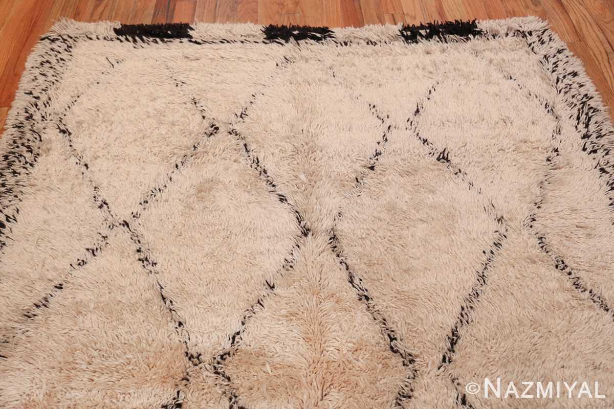 Geometric Ivory Background Vintage Moroccan Rug 49891 Top Design Nazmiyal