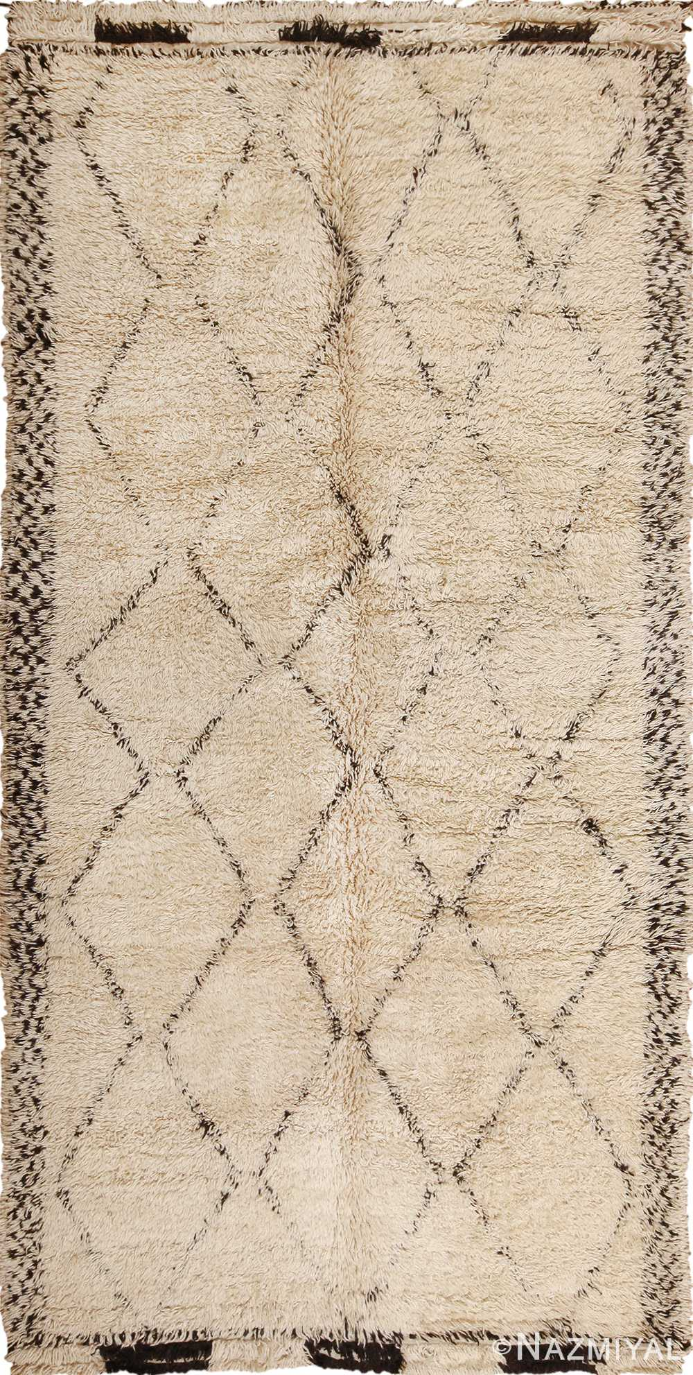 Uitgelezene Vintage Ivory Shag Moroccan Beni Ourain Rug 49891 Nazmiyal Rugs RG-72