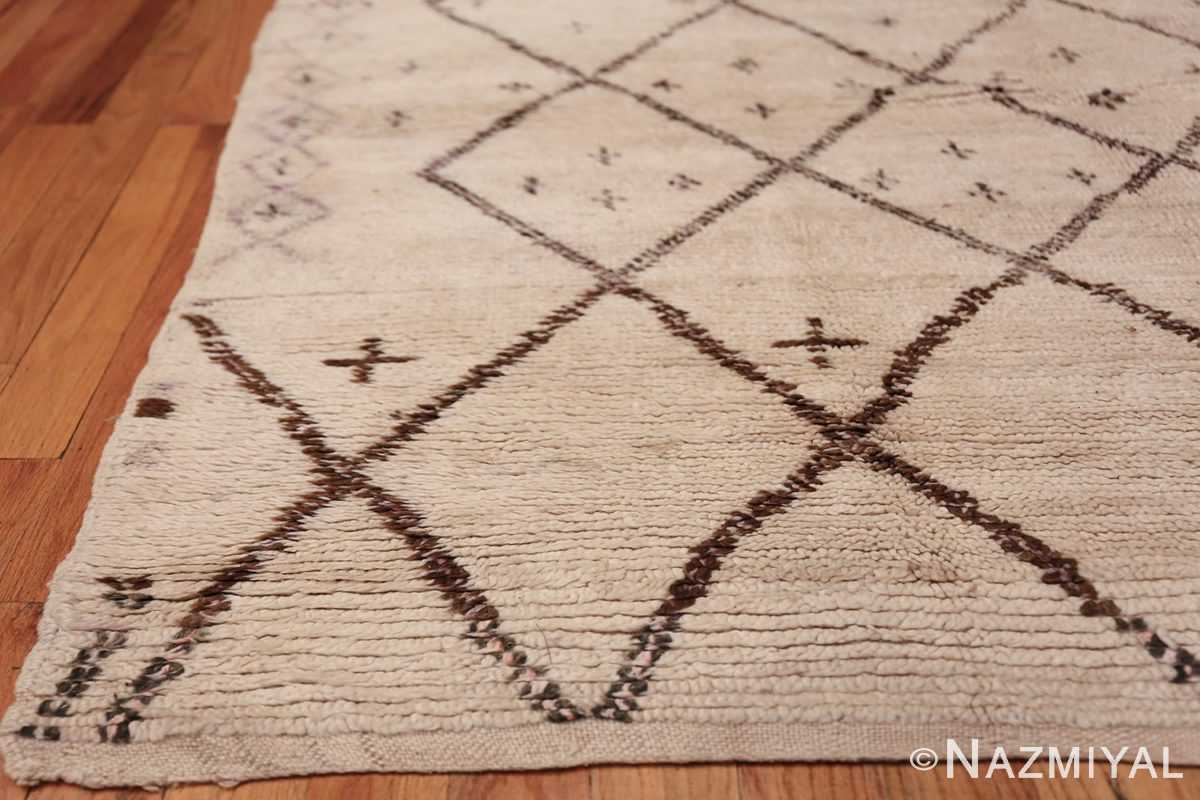 Ivory Background Vintage Moroccan Rug 49867 Side Corner Nazmiyal