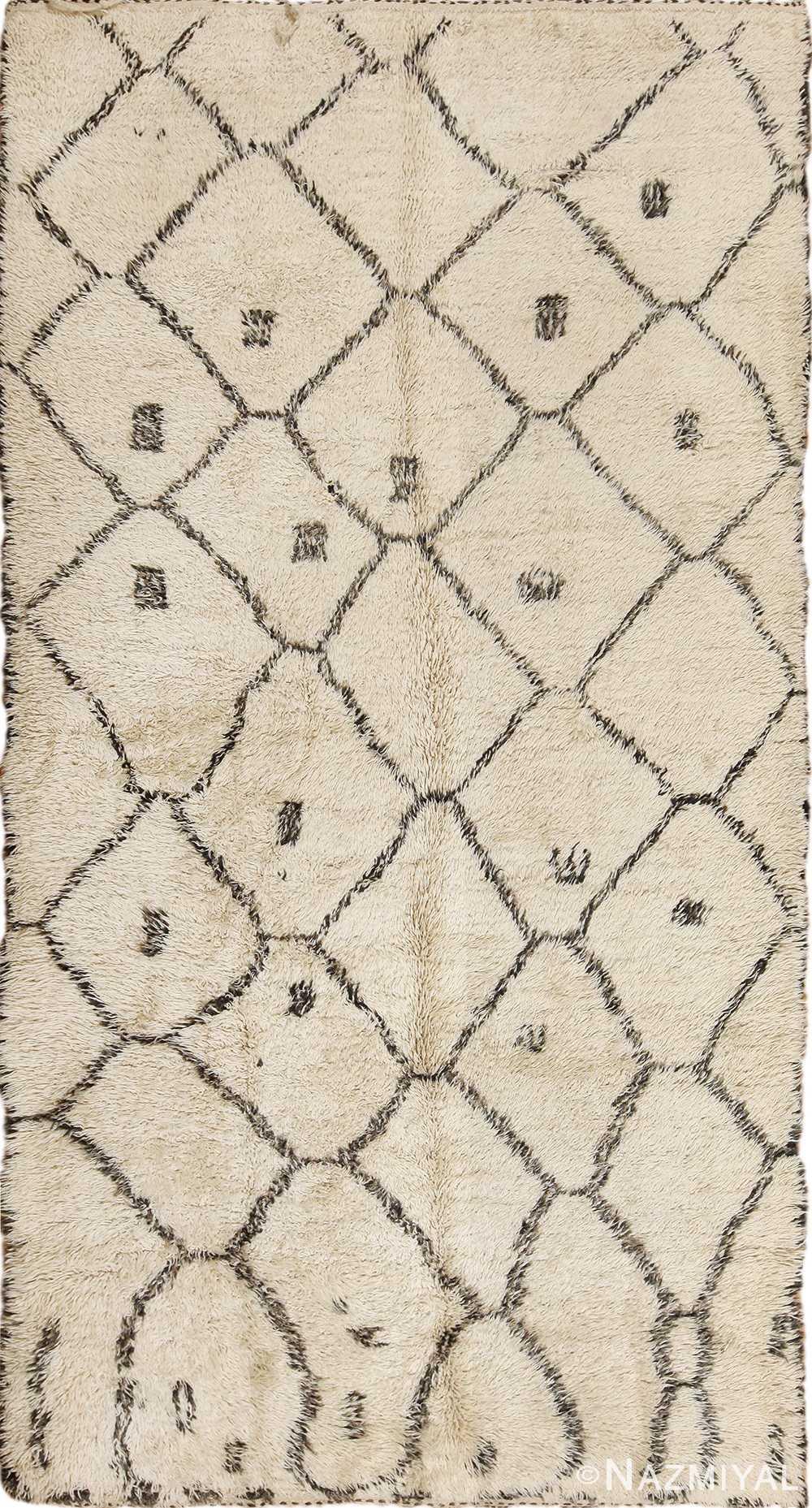 Ivory Shag Pile Vintage Beni Ourain Moroccan Rug 49875 - Nazmiyal
