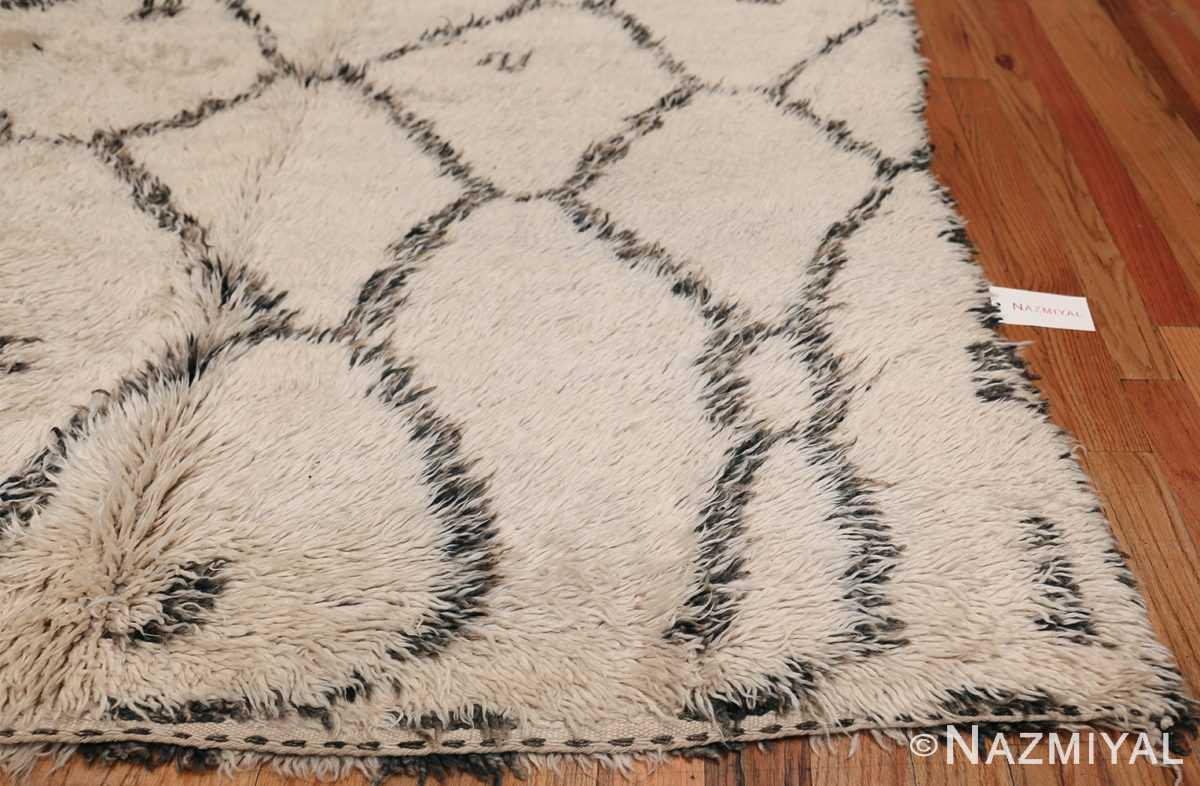 Ivory Background Vintage Moroccan Rug 49875 Side Corner Nazmiyal