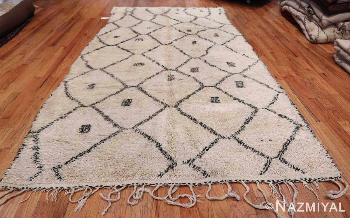 Ivory Background Vintage Moroccan Rug 49875 Woven Knots Nazmiyal