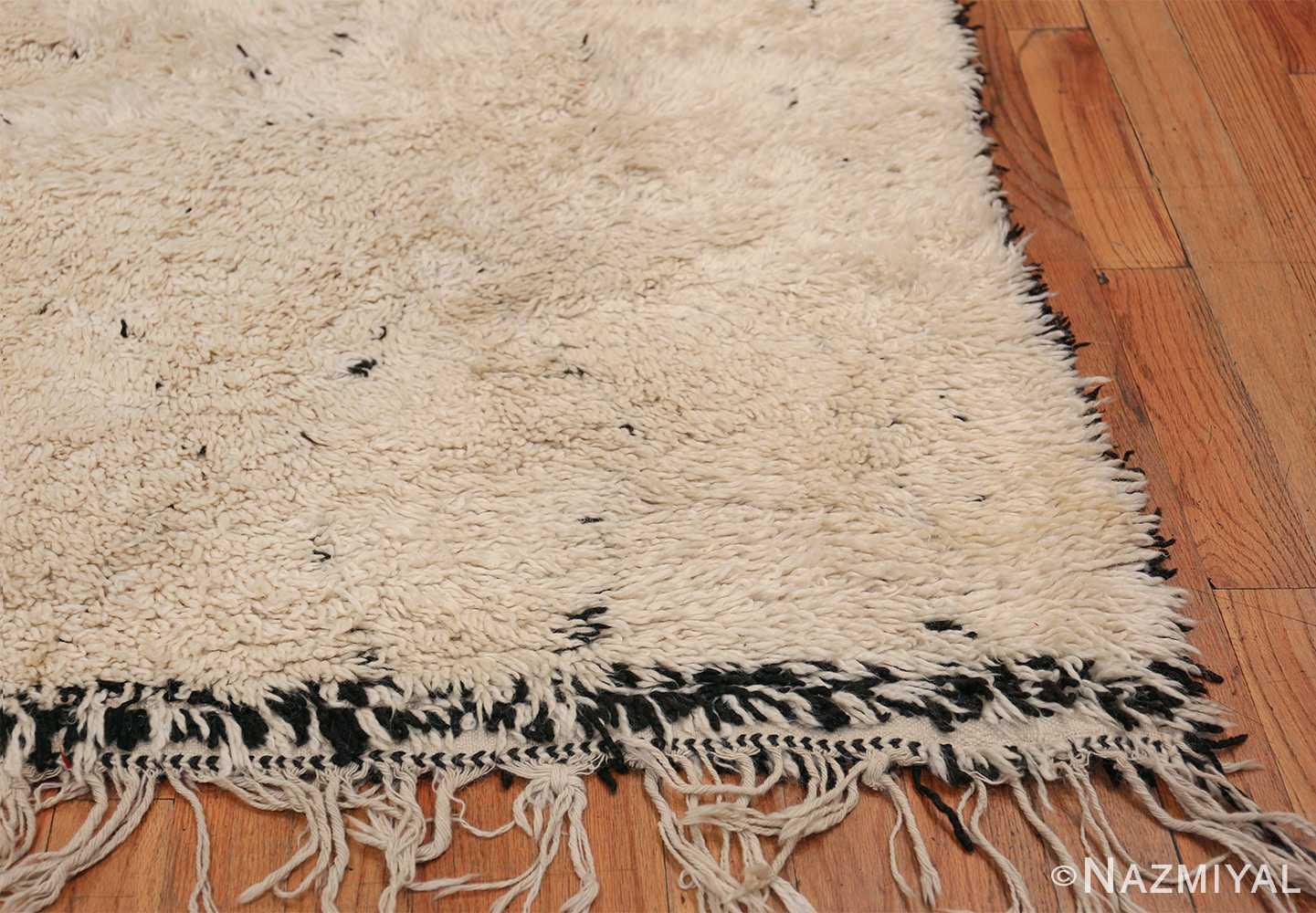 Ivory Room Size Vintage Moroccan Rug 49870 Side Corner Nazmiyal