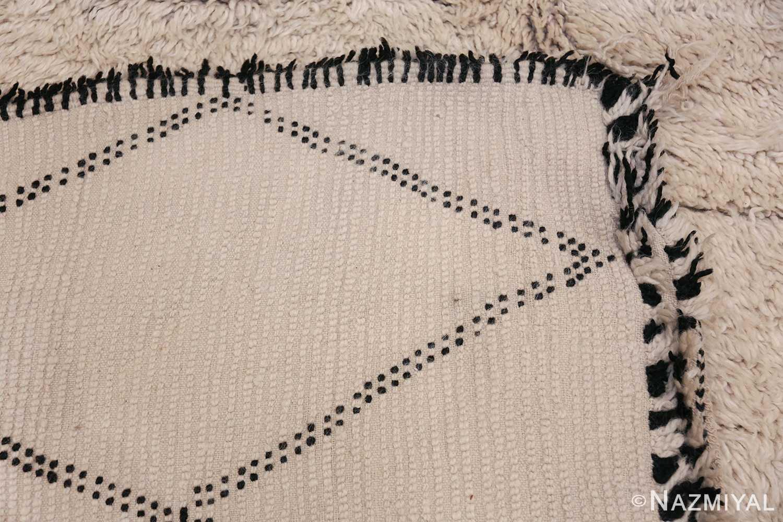 Ivory Room Size Vintage Moroccan Rug 49870 Woven Knots Nazmiyal