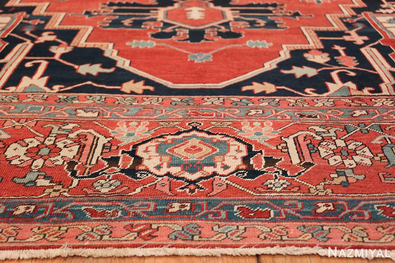 arge Antique Persian Serapi Rug 49595 Blue Shape Nazmiyal