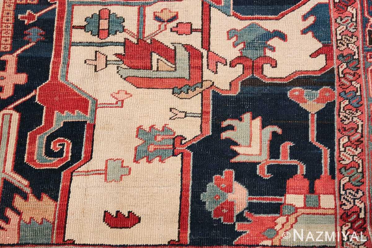 arge Antique Persian Serapi Rug 49595 Navy Geometric Nazmiyal