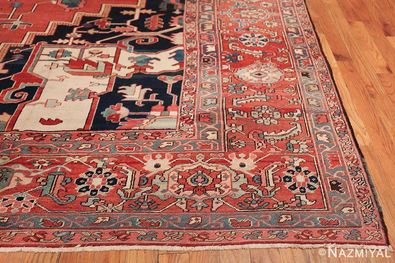 arge Antique Persian Serapi Rug 49595 Side Corner Nazmiyal