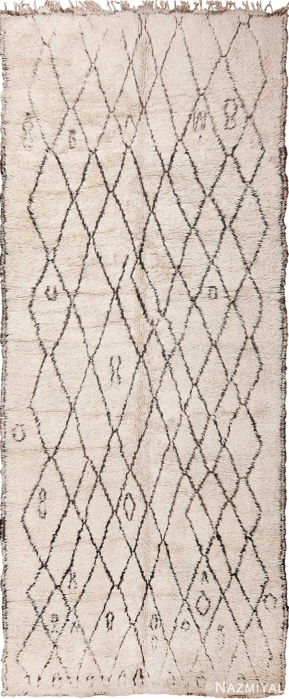 Gallery Size Vintage Moroccan Beni Ourain Rug 49895 - Nazmiyal