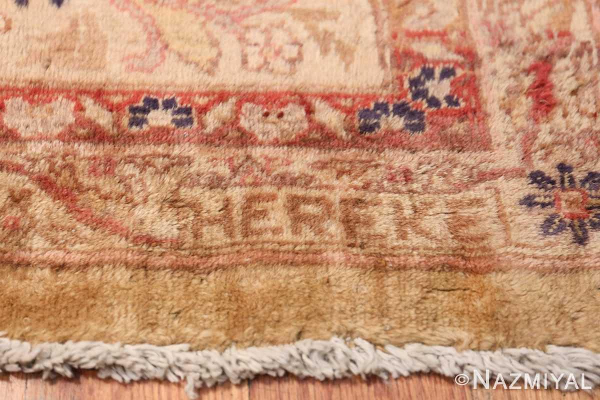 Oversize Antique Turkish Hereke Rug 50384 Signature Sign Nazmiyal