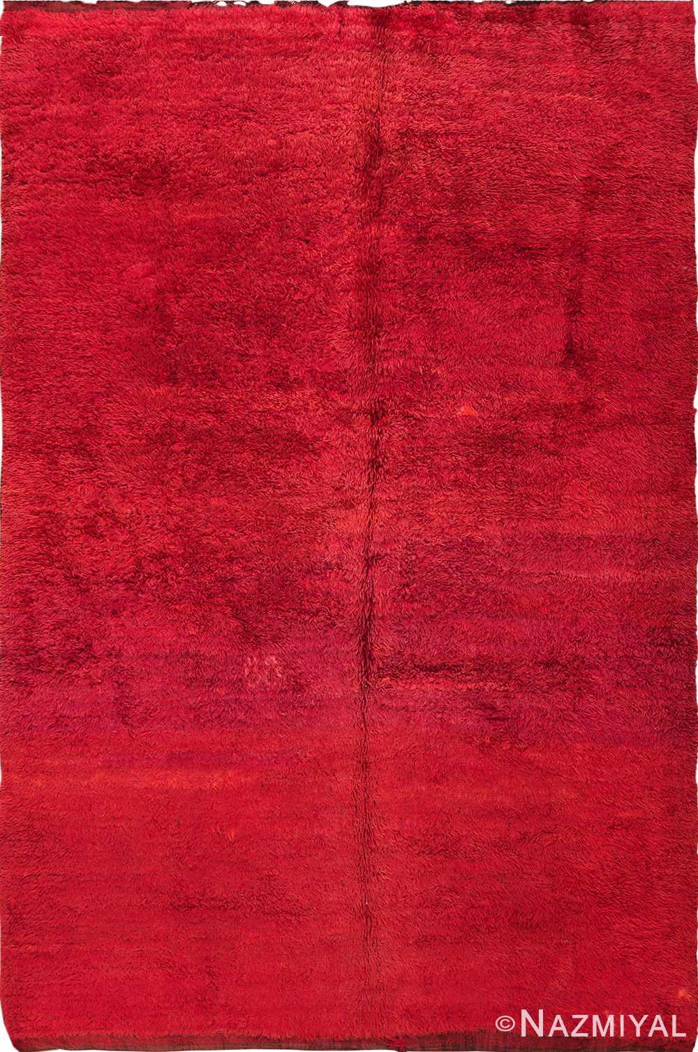 Vintage Moroccan Red Shag Berber Rug 49883 - Nazmiyal