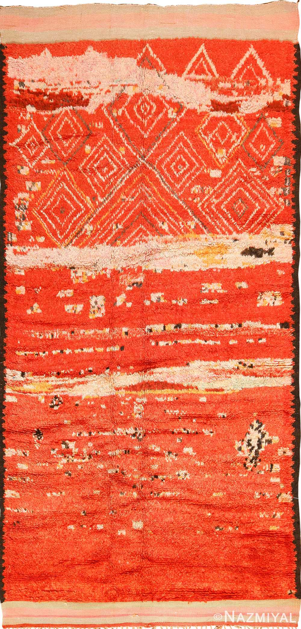 Colorful Tribal Vintage Berber Moroccan Rug 49893 Nazmiyal