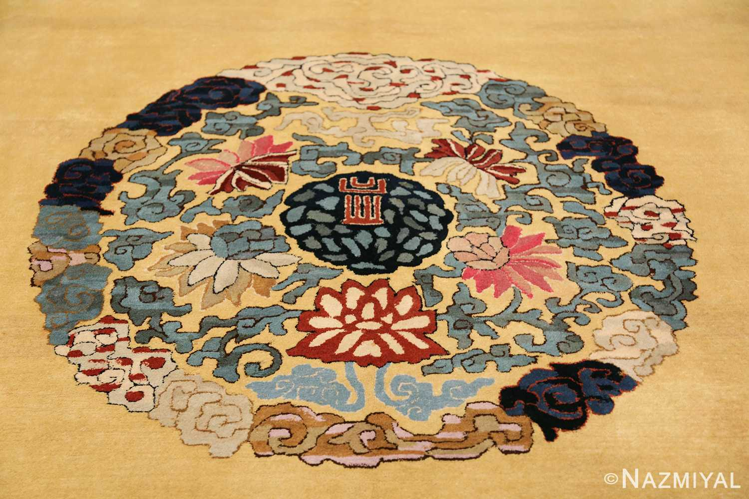 Saffron Yellow Oversize Antique Chinese Rug 49746 Central Medallion Nazmiyal
