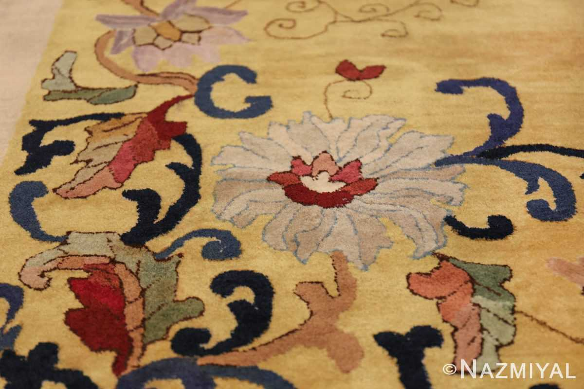 Saffron Yellow Oversize Antique Chinese Rug 49746 Ivory Flower Nazmiyal