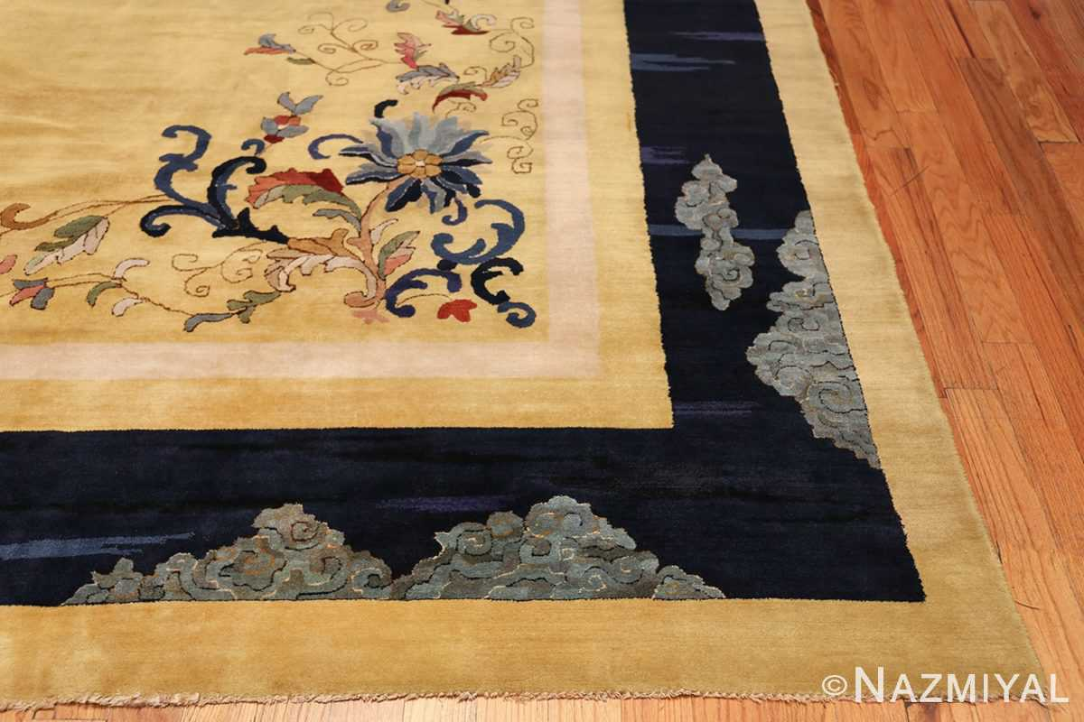 Saffron Yellow Oversize Antique Chinese Rug 49746 Side Corner Nazmiyal