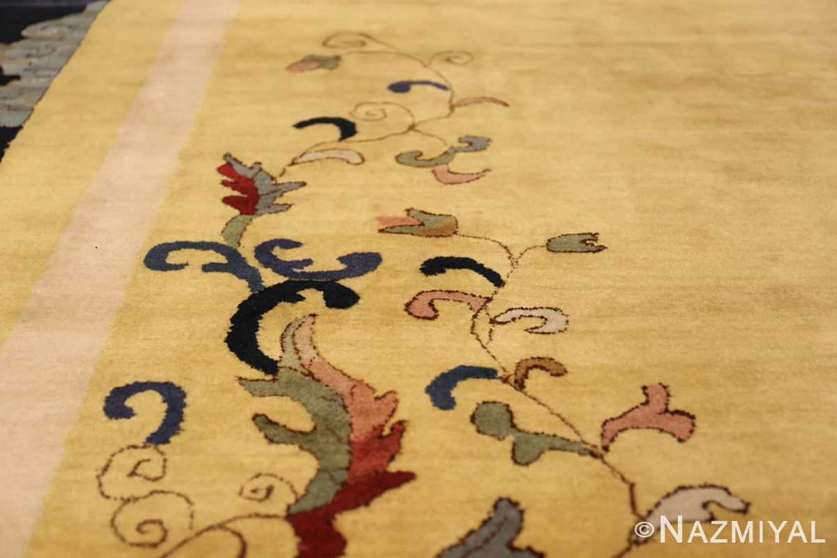 Saffron Yellow Oversize Antique Chinese Rug 49746 Side Scrolls Nazmiyal
