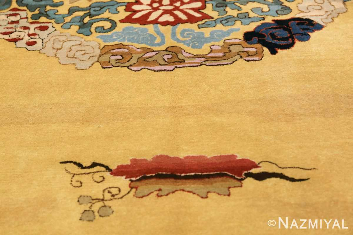 Saffron Yellow Oversize Antique Chinese Rug 49746 Vine Leaf Nazmiyal