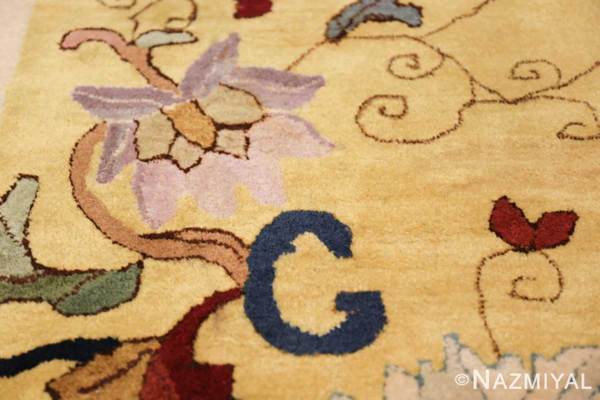 Saffron Yellow Oversize Antique Chinese Rug 49746 Violet Lily Nazmiyal