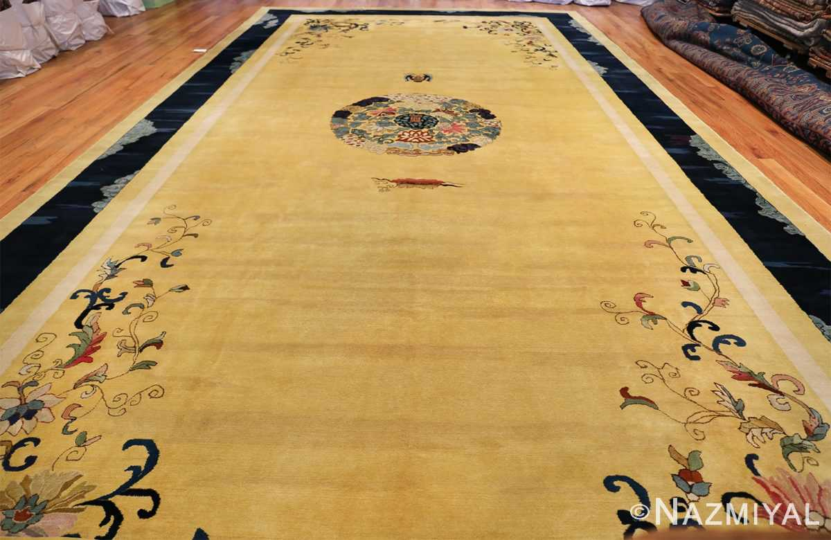 Saffron Yellow Oversize Antique Chinese Rug 49746 Whole Design Nazmiyal