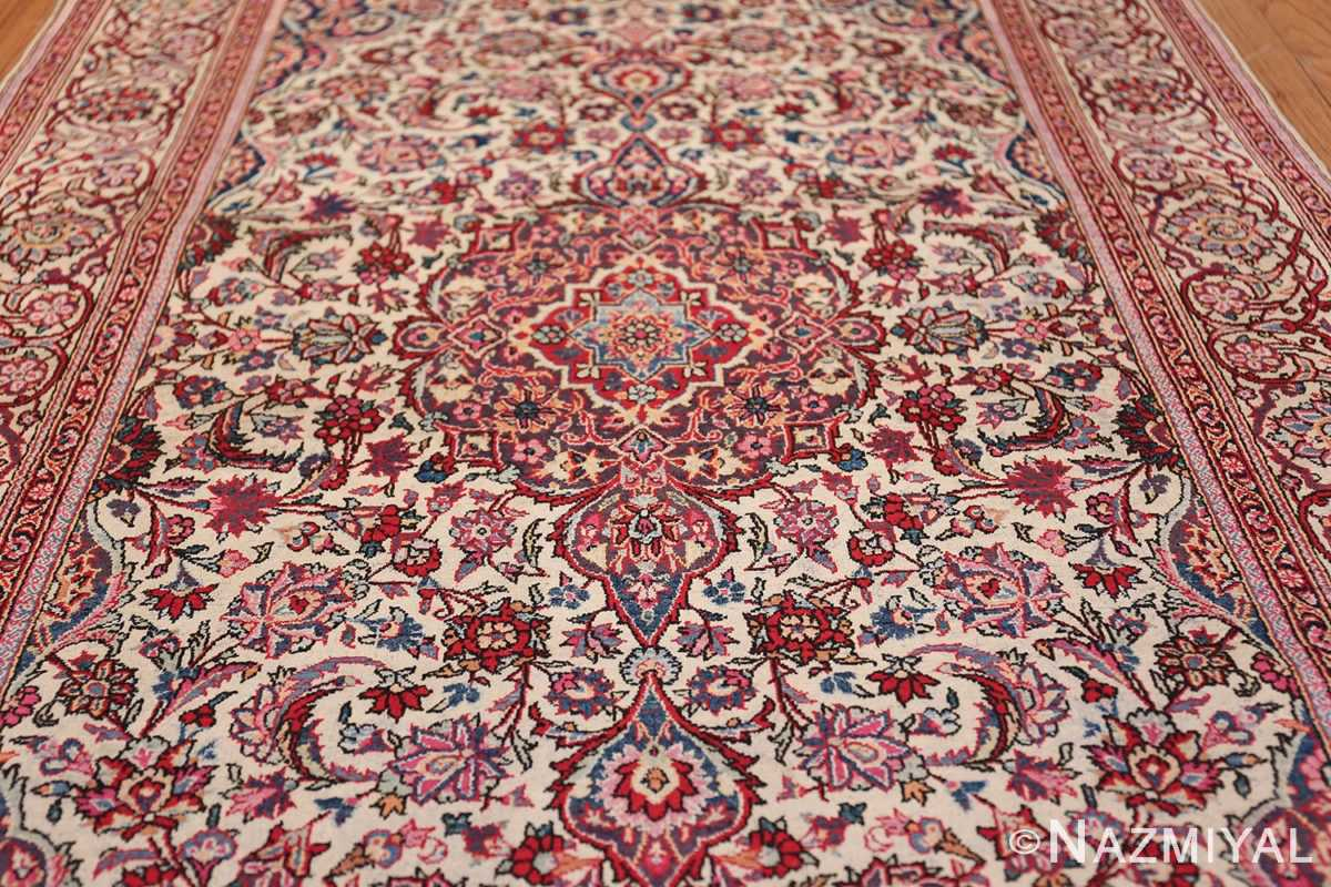 Small Size Antique Silk Persian Kashan Rug 49853 Field Design Nazmiyal
