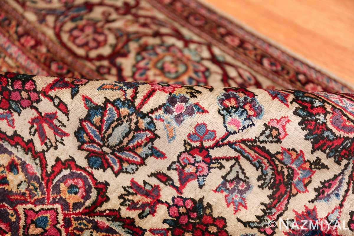 Small Size Antique Silk Persian Kashan Rug 49853 Floral Pile Nazmiyal