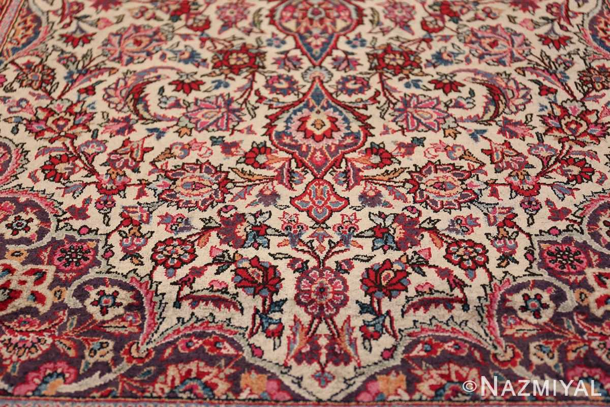 Small Size Antique Silk Persian Kashan Rug 49853 Lower Floral Field Nazmiyal