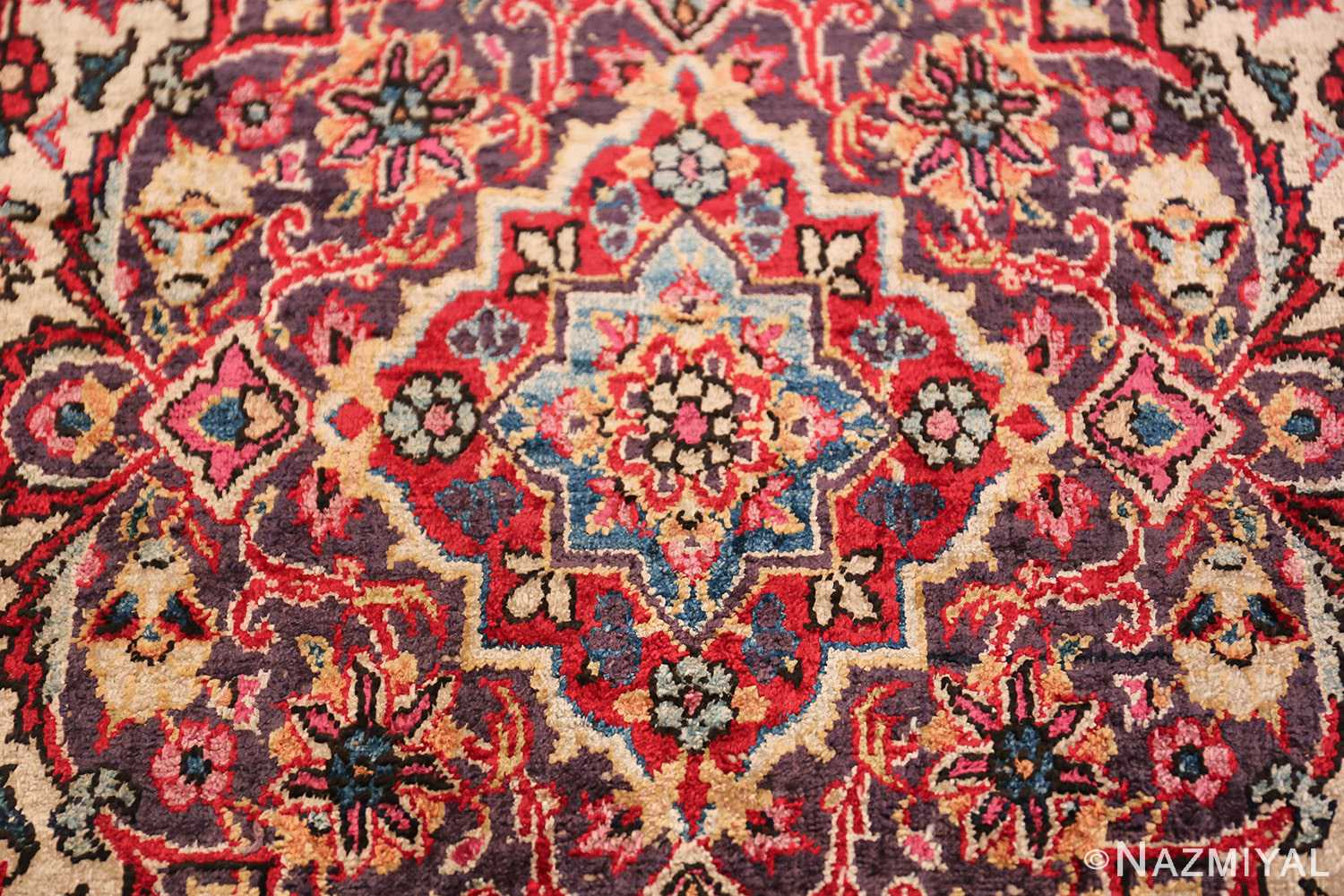 Small Size Antique Silk Persian Kashan Rug 49853 Middle Part Nazmiyal