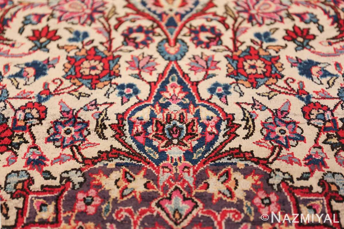 Small Size Antique Silk Persian Kashan Rug 49853 Pink Blue Flowers Nazmiyal