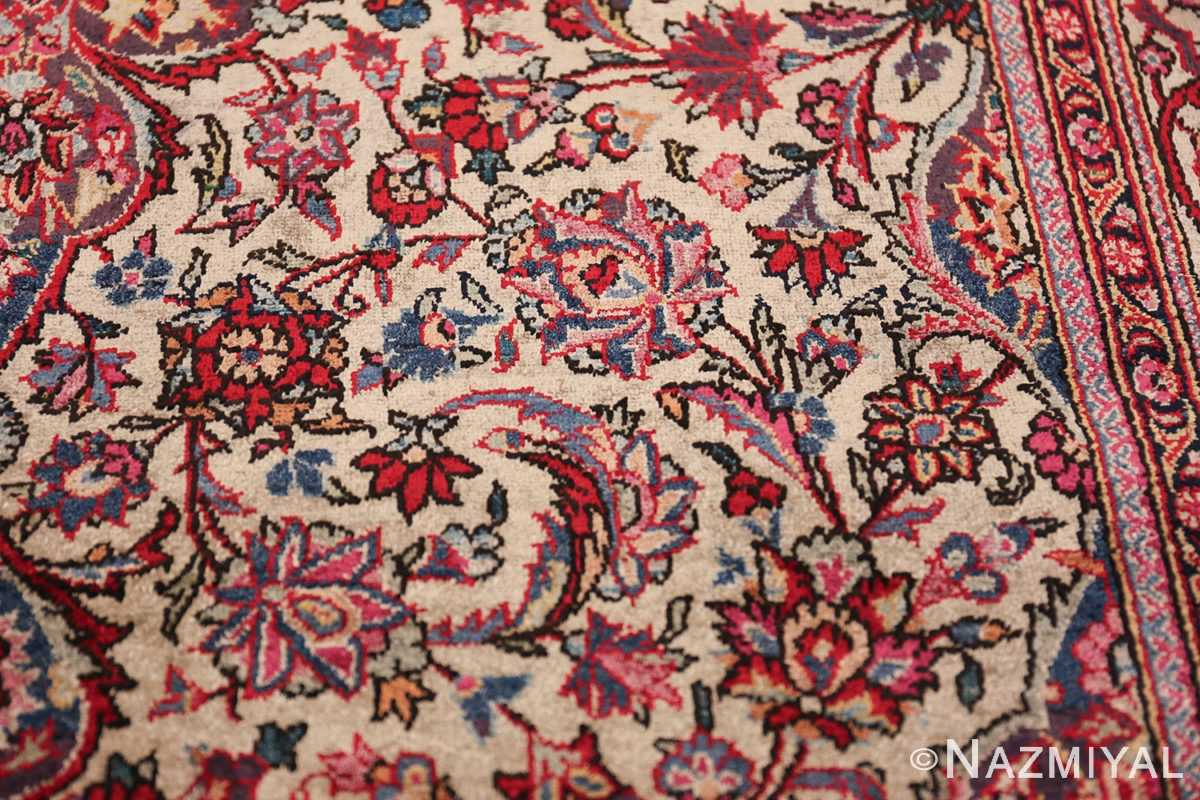Small Size Antique Silk Persian Kashan Rug 49853 Scroll Branches Nazmiyal