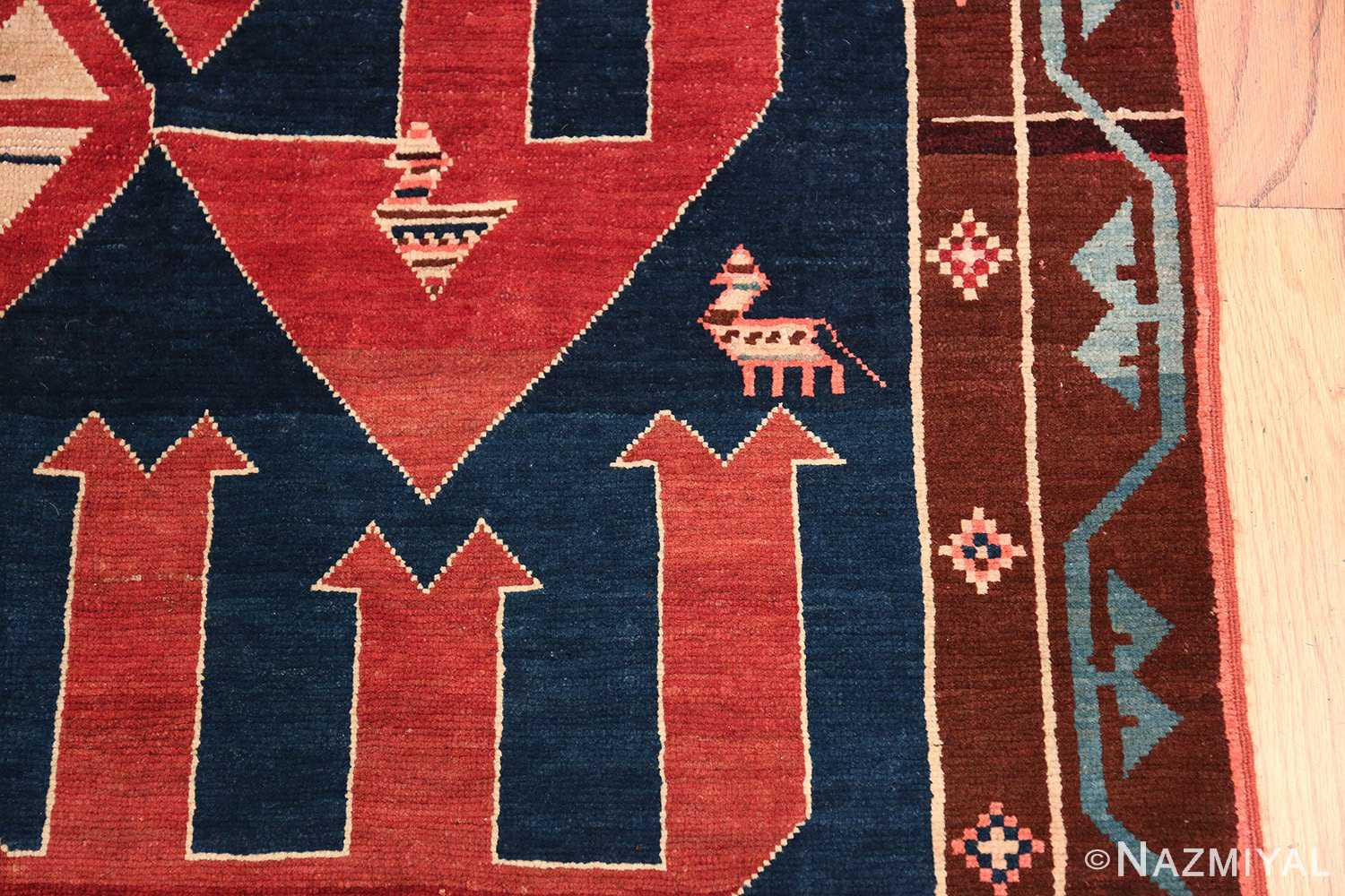 Small Size Tribal Antique Caucasian Avar Rug 49852 Border Design Nazmiyal