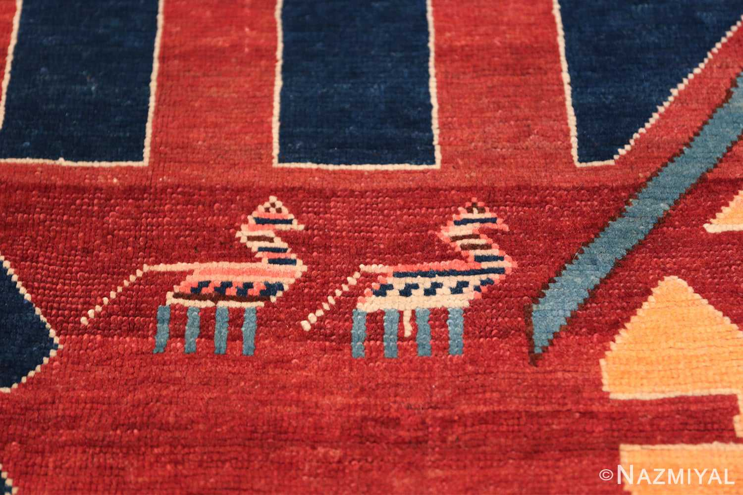 Small Size Tribal Antique Caucasian Avar Rug 49852 Couple Horses Nazmiyal