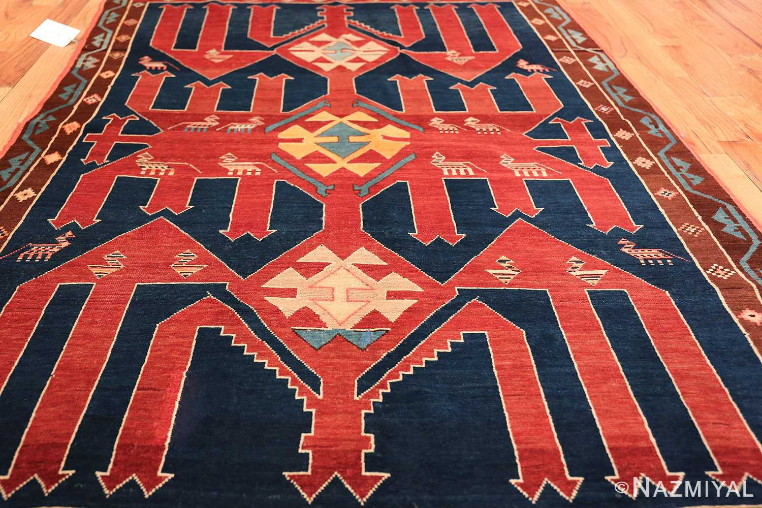 Small Size Tribal Antique Caucasian Avar Rug 49852 Field Design Nazmiyal